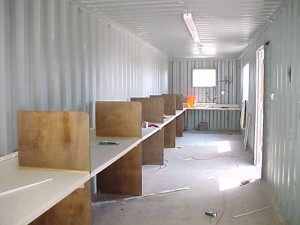 office in container, container modification