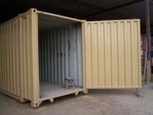 large swinging door added to container