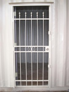 custom door with security bars on door
