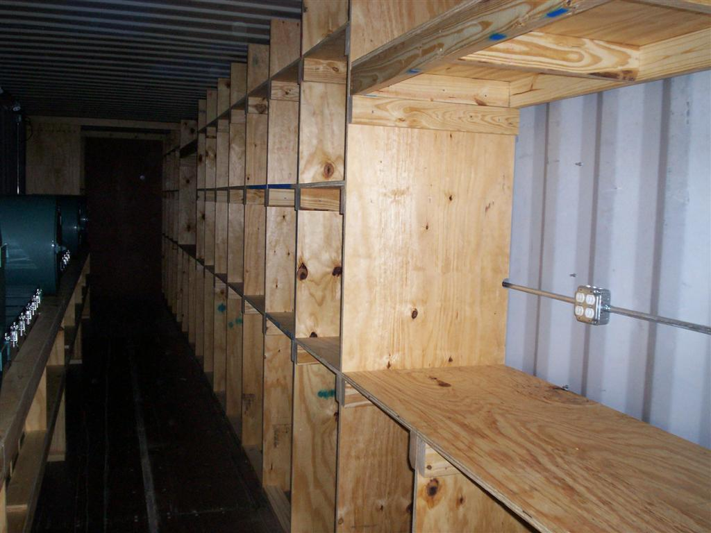 custom shelving shipping container