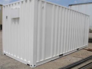 freshly painted white shipping container