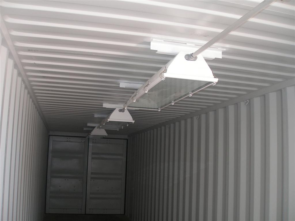 lighting installed in shipping container