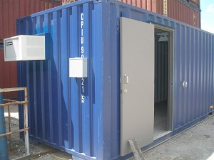 shipping container with door electric and ac