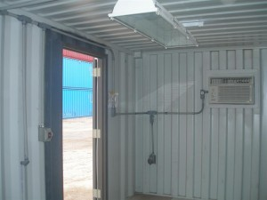shipping container with door and a/c
