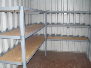 Shipping Container with Custom Shelving