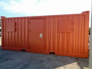 Custom painted orange and protected door and windows